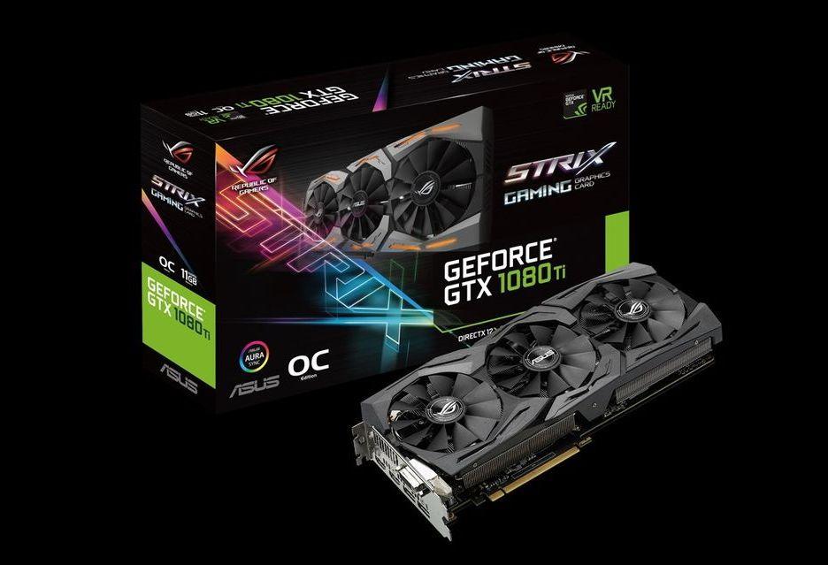 ASUS GeForce GTX 1080 Ti Strix pozuje do zdjęć