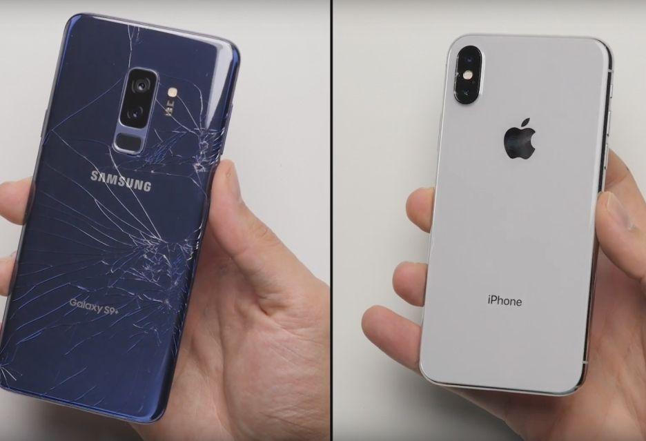 Galaxy S9+ vs iPhone X - jak topowe smartfony znoszą upadki?