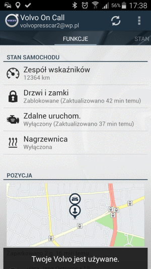 volvo on call menu główne