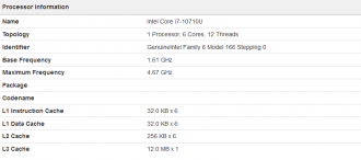 Intel Core i7-10710U Geekbench