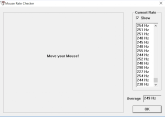 Mouse Rate Checker screen