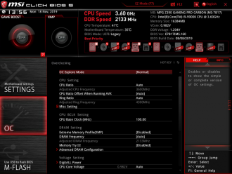 MSI MPG Z390 Gaming PRO Carbon - UEFI BIOS menu OC