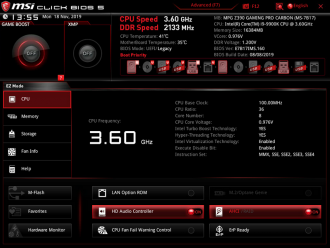 MSI MPG Z390 Gaming PRO Carbon - UEFI BIOS tryb EZ