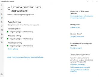 Windows Defender - panel sterowania