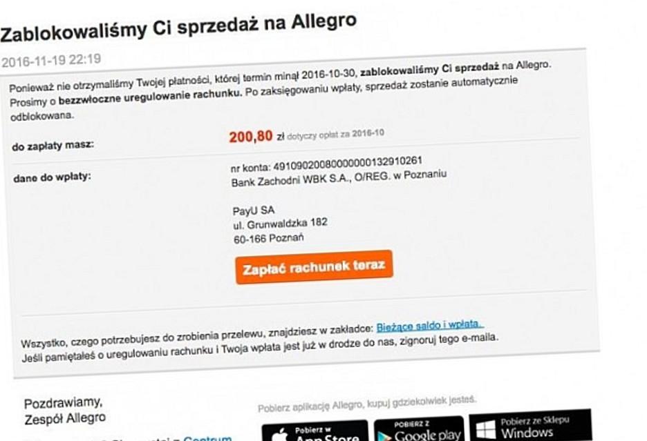 Uwazajcie Na Oszustow Falszywe Maile Od Allegro