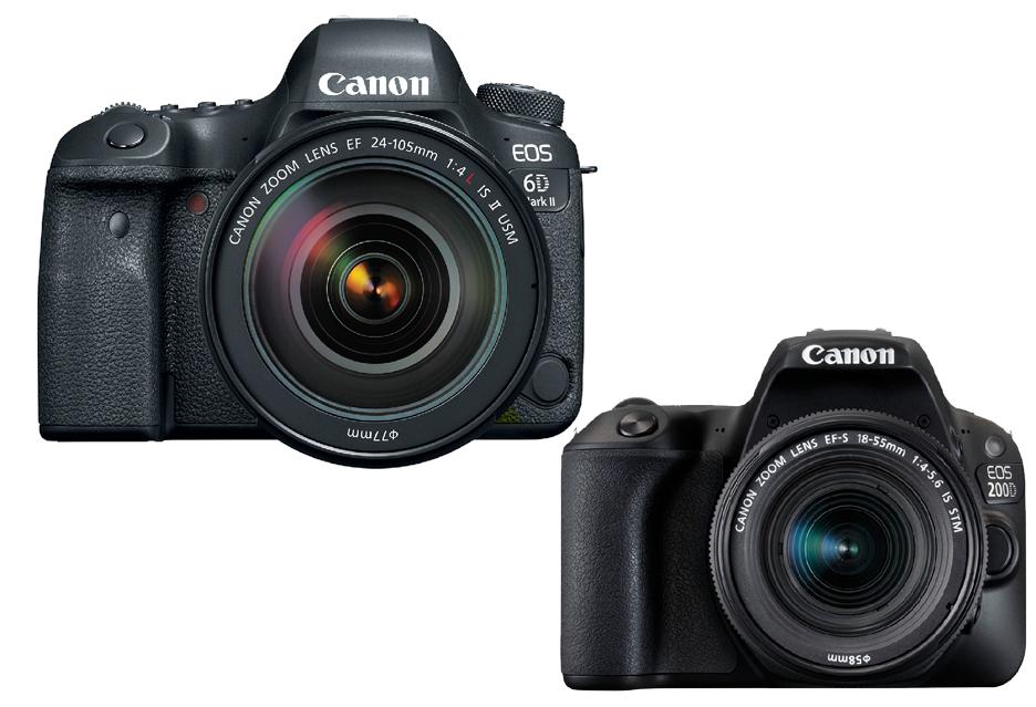 Canon EOS 6D Mark II i EOS 200D - duża i malutka lustrzanka, z dużą i mniejsza matrycą