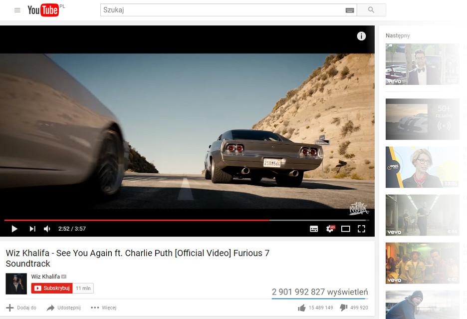 Nowy rekord na YouTube - See You Again (z prawie 3 mld wyświetleń)