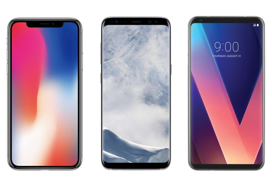 "Apple iPhone X vs Galaxy S8 vs LG V30 - pojedynek ""bezramkowych"" smartfonów"