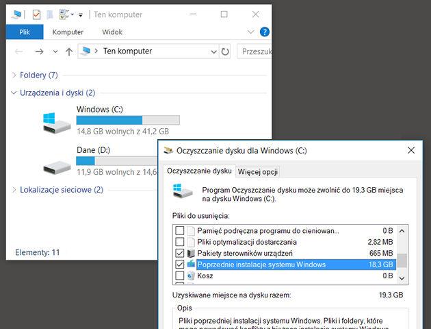 Oczyszczanie dysku po aktualizacji Windows 10 - czyli jak odzyskać 10GB wolnego miejsca