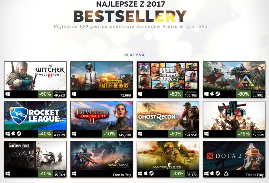Steam podsumowuje 2017 rok - oto bestsellery