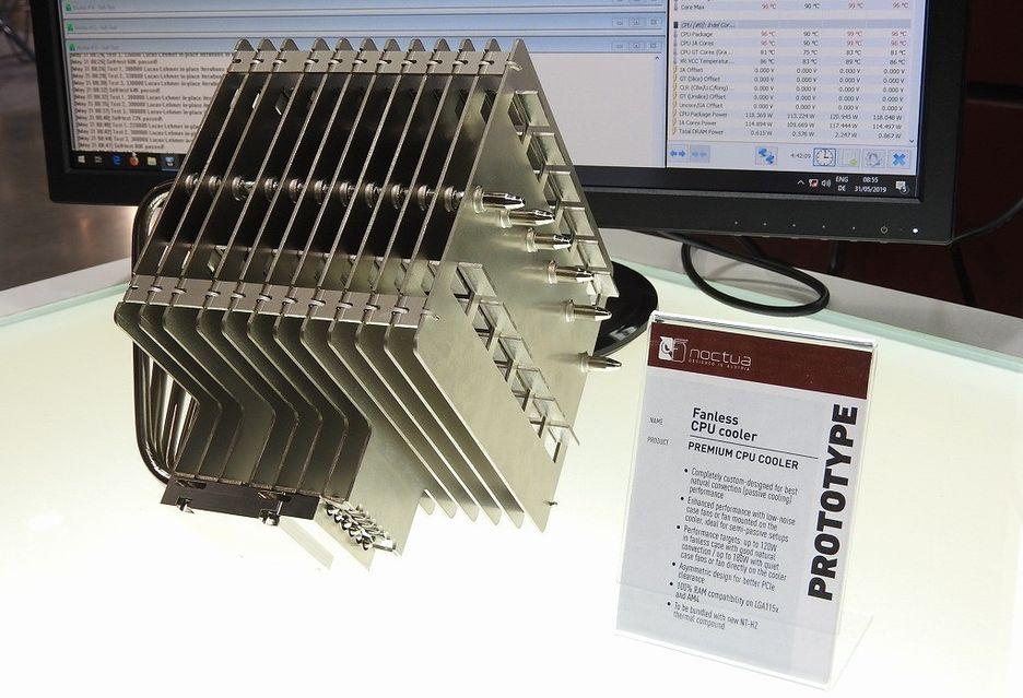 Pasywne chłodzenie Noctua vs Core i9 9900K - prototypowy cooler w akcji
