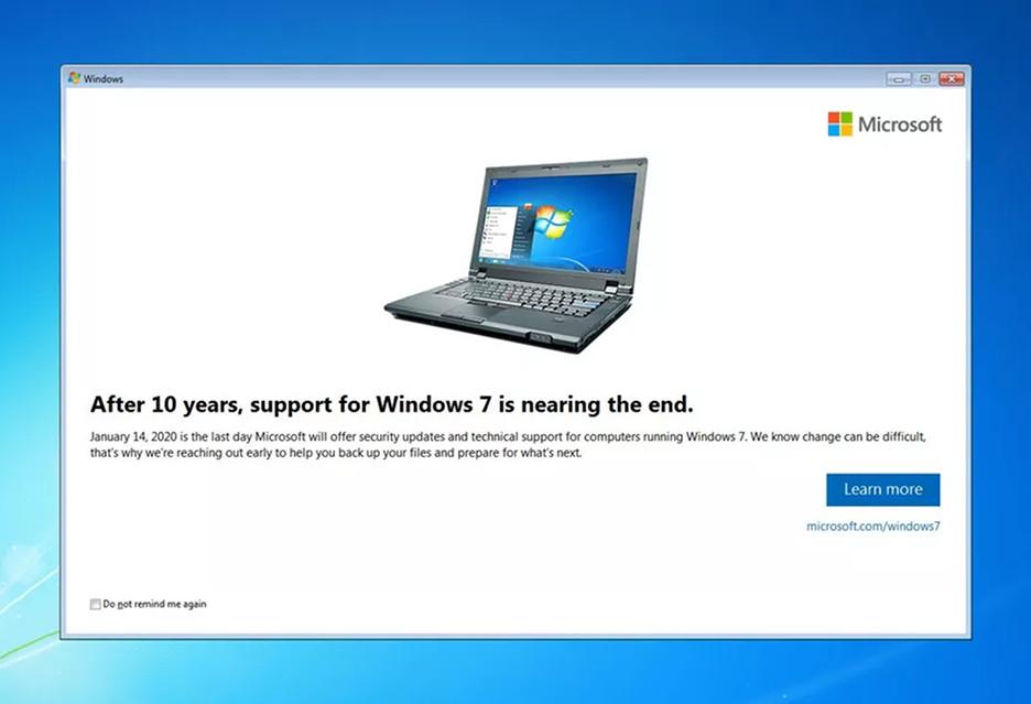 Koniec przygody z Windows 7 - Microsoft przypomina o tym komunikatem