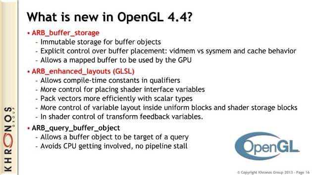 opengl 4.4 specyfikacja slajd nowości arb buffer storage