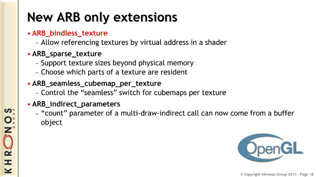 opengl 4.4 specyfikacja interfejs api arb bindless texture