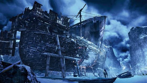 Wiedźmin 3 zima śnieg statek