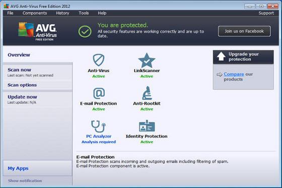 darmowy antywirus do pobrania avg anti-virus free edition okno główne