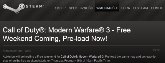Call Of Duty modern warfare 3 Free Weekend