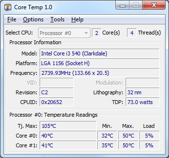 temperatura procesora program coretemp