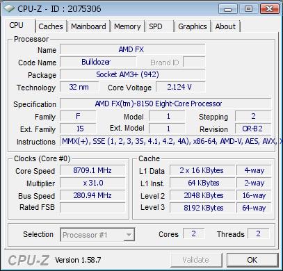 AMD FX-8150 procesor rekord taktowania 8709 MHz walidacja CPU-Z
