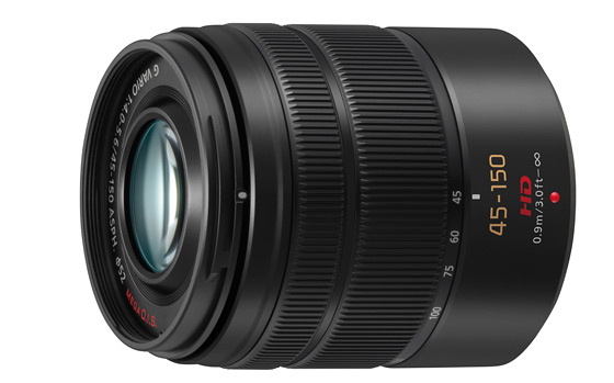 Panasonic Lumix G Vario 45 - 150 mm obiektyw zoom tele widok bok metalowy bagnet