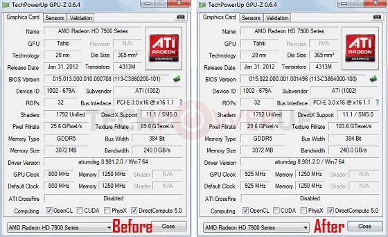 AMD Radeon HD 7950 karta graficzna specyfikacja aktualizacja BIOS zrzut ekranu