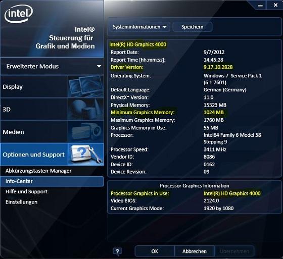 Intel HD Graphics Driver sterowniki panel kontrolny zrzut ekranu