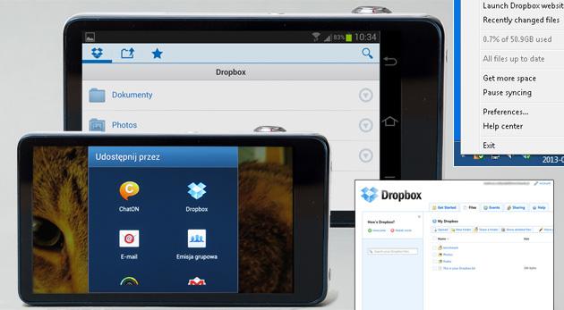 Konto Dropbox interfejs komputer aparat cyfrowy