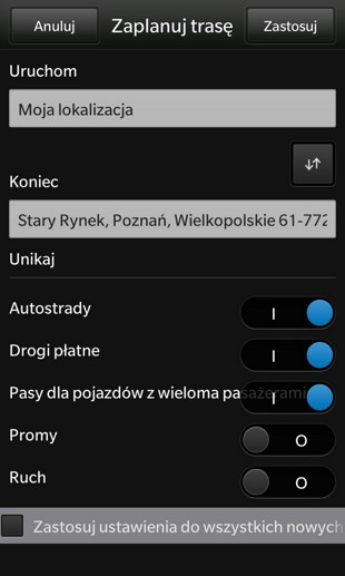BlackBerry - parametry trasy