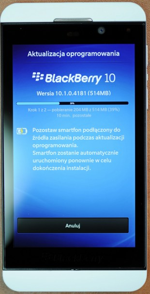 BlackBerry Z10 - aktualizacja