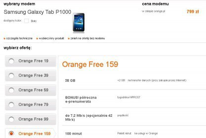Samsung Galaxy Tab w Orange