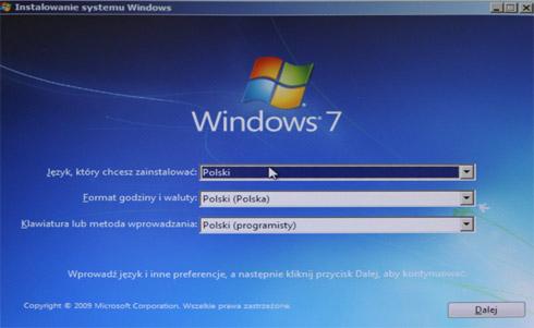 Instalowanie systemu Windows