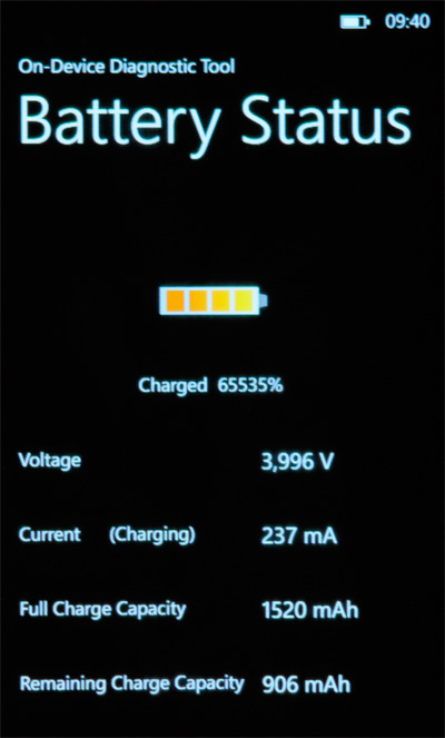 Nokia Lumia 800 - battery status