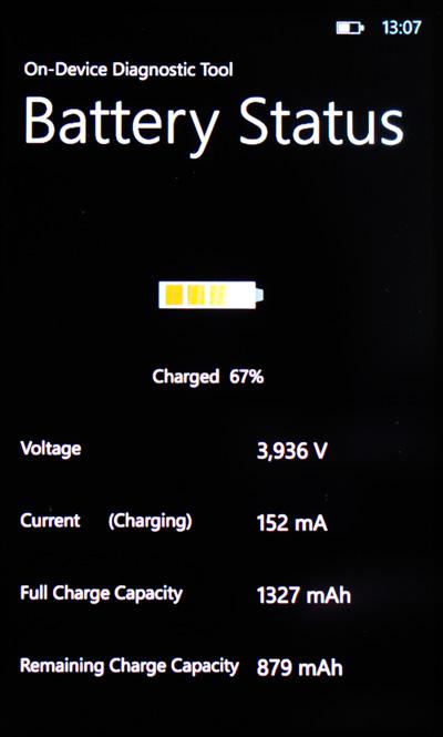Nokia Lumia 710 - batery status