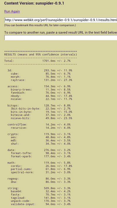 HTC ONE X - SunSpider JavaScript Benchmark