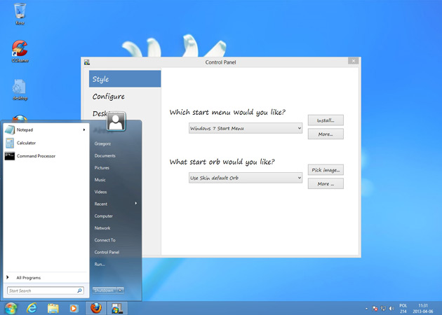 znane z Windows 7 menu start w Windows 8