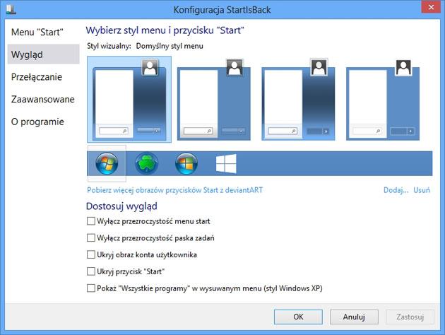 kilka styli wyświetlania menu start w StartIsBack