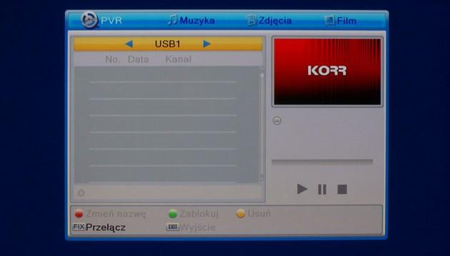 KORR HD 158 - menu PVR