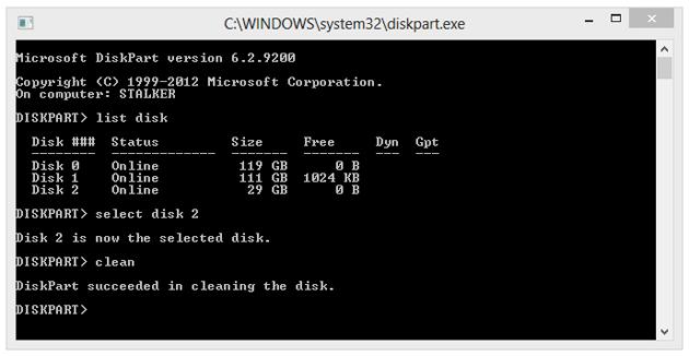 """Usuwamy partycje i informacje zapisane w MBR (master boot record) oraz GPT (GUID partition table), wpisując """"clean""""."""