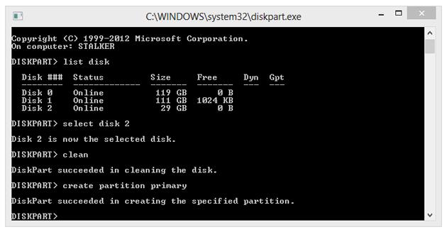 """Tworzymy partycję główną wpisując """"create partition primary""""."""