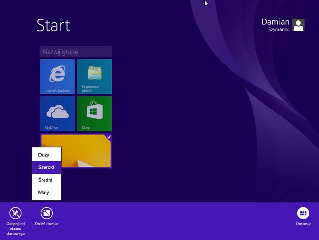 System Windows 8.1 rozmiar kafelek