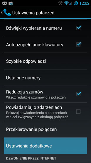 Android 4.3 ustawienia dodatkowe