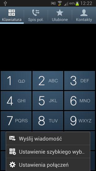 TouchWiz ustawienia połączeń