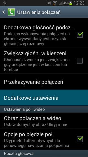 TouchWiz dodatkowe ustawienia