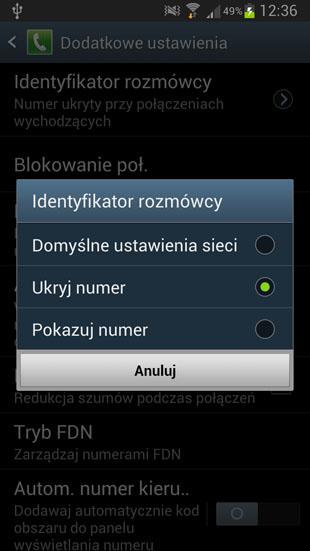 TouchWiz ukryj numer