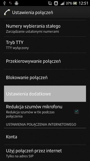 Sony Android 4.1 ustawienia dodatkowe