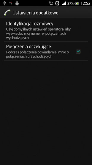 Sony Android 4.1 identyfikacja rozmówcy