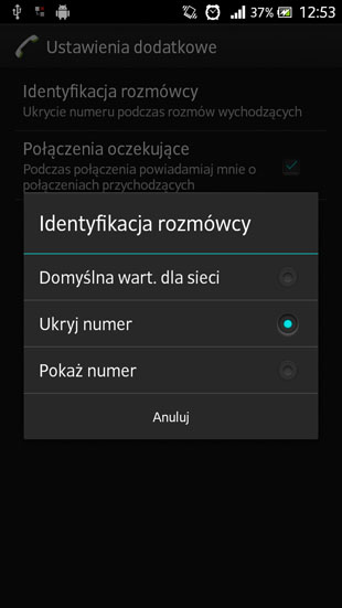 Sony Android 4.1 ukryj numer
