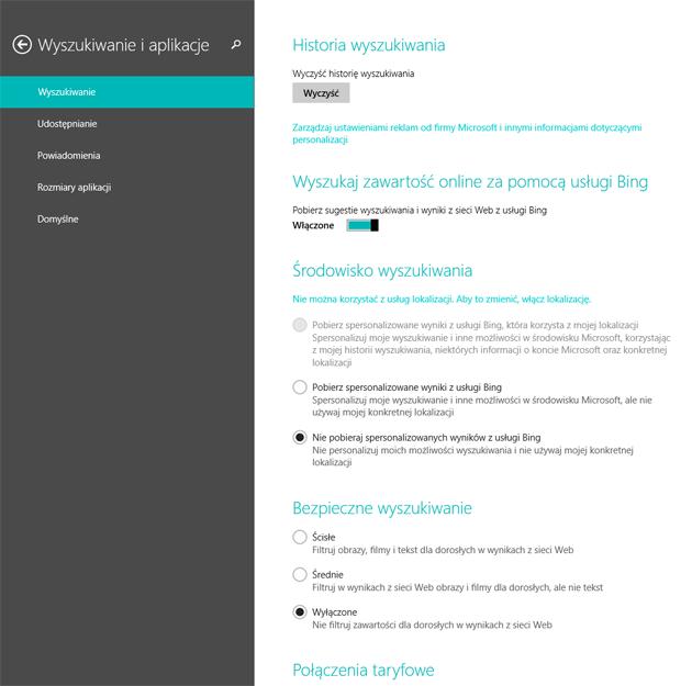 Windows 8.1 - wyszukiwanie i aplikacje