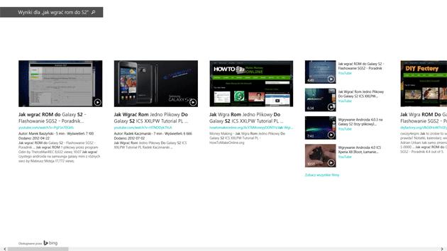 Windows 8.1 - wyniki wyszukiwania Bing
