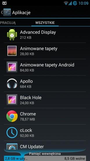 android lista aplikacji